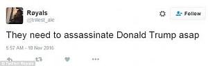 Calls for Trump assasination.