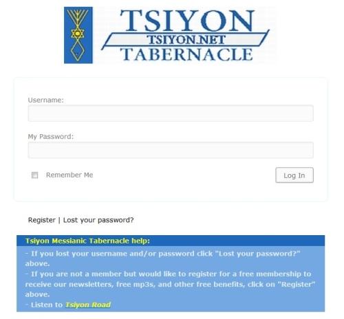 Tsiyon Member Login