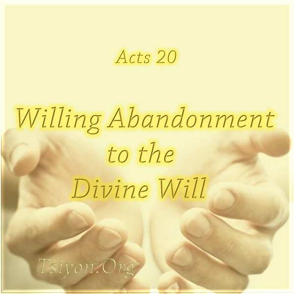 Acts 20 Willing Abandonment to the Divine Will click to read newsletter